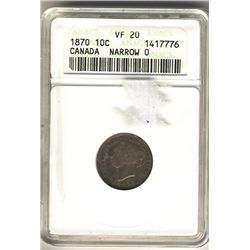 1870 10 Cents ANACS VF-20; Narrow 0.