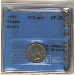 1870 10 Cents CCCS VF-20; Wide 0.