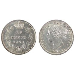 1871 10 Cents ICCS MS60. White and lustrous.