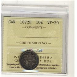 1872H 10 Cents ICCS VF20.