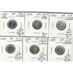 1874H 10 Cents, 1913 Sm, 1919, 1932, 1933 & 1938. Lot of 6 coins all EF with issues. .