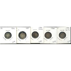 1880 10 Cents, 1891 22 Lvs, 1898, 1899 Sm 9's & 1901; 5 coins Good to Fine.