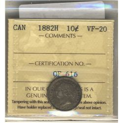 1882H 10 Cents ICCS VF-20.