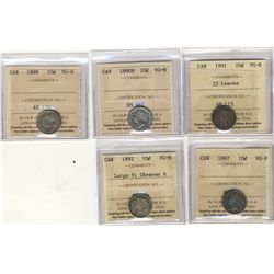 1887, 1888, 1890H, 1891 22 Leaves, 1892 Large 9 Obverse 6, 10 Cents, all ICCS VG-8. Lot of 5 coins.