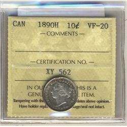 1890H 10 Cents ICCS VF-20.