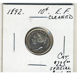 1892 10 Cents EF Cleaned. .