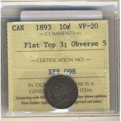 1893 10 Cents ICCS VF-20 Obverse 5; Flat top.