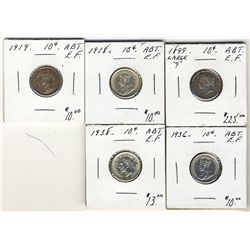 1899 Lg 9 10 Cents, 1918, 1919, 1936 & 1938. Lot of 5 coins all Abt EF.