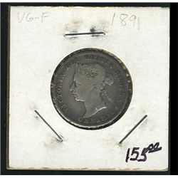 1891 25 Cents; VG, key date.