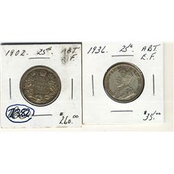 1902 25 Cents & 1936 Abt EF. Lot of 2 coins. .