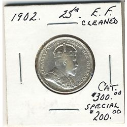 1902 25 Cents EF lightly cleaned. .