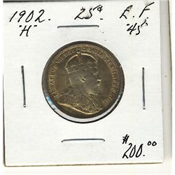 1902H 25 Cents EF45. .