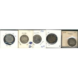 1911 25 Cents(3), 1913 & 1918; 5 coins Fine to EF.