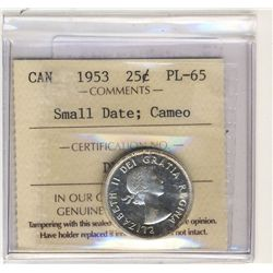 1953 25 Cents, ICCS PL-65; Small Date, Cameo.