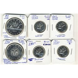 1959 25 Cents, 1961, 1962, 1965 & Dollars 1963, 1964 Proof likes.  Lot of 6 coins.  Some with Cameo.