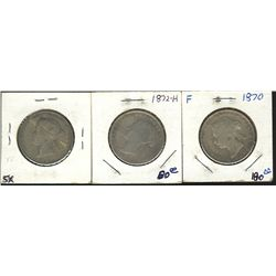 1870 50 Cents, 1871 & 1872H;  3 coins Good to VG+
