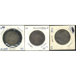 1871 50 Cents, 1872H & 1881H; 3 coins Good to G+.
