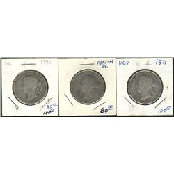 1871 50 Cents, 1872H & 1892; 3 coins Good to aVG.