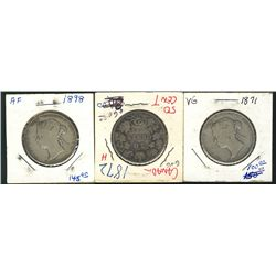 1871 50 Cents,1872H & 1898; 3 coins Good to VG.