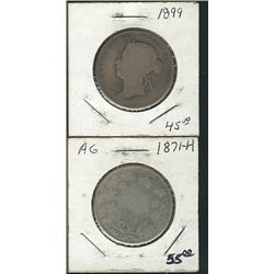 1871H 50 Cents & 1899; 2 coins abt Good to Good.