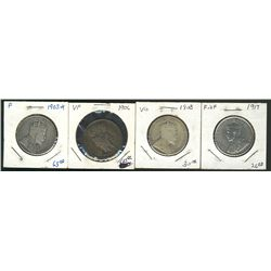 1903H 50 Cents, 1906, 1908 & 1917; 4 coins G+ to F+.