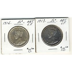 1913 50 Cents & 1916 Abt VF. Lot of 2 coins. .
