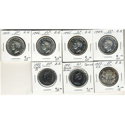 1944 , 1945, 1946, 1952, 1953, 1978RB & 1982 Ty II.50 Cents. Lot of 7 coins all BU. .