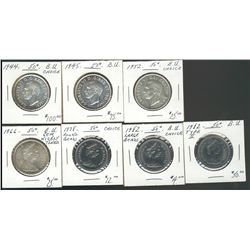 1944, 1945, 1952, 1966, 1978RB, 1982 & 1982 Ty II.  50 Cents Lot of 7 coins all BU. .