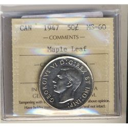 1947 50 Cents, ICCS MS-60; Maple Leaf.