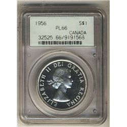 1956 Dollar, PCGS PL-66. Light Cameo finish with reflective fields.