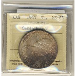 1965 Dollar, ICCS MS-65; Small Beads, Pointed 5. Attractive.