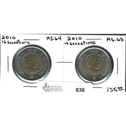 2 Dollars 2010 16 Serrations in MS-64 and 2010 14 Serrations in MS-65. Lot of 2 coins.
