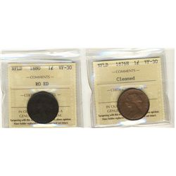 Newfoundland Cent 1876H cleaned & 1880 RO ED ICCS VF-30.