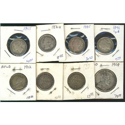 Newfoundland 1865 20 Cents, 1876H, 1885, 1896, 1912, 1917(2), 50 Cents 1908;  8 coins VG to VF.
