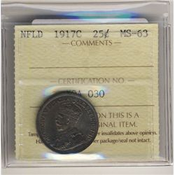 Newfoundland 1917c 25 Cents ICCS MS63. Nicely toned.