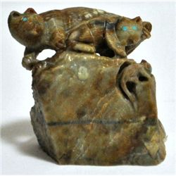 Zuni Picasso Marble & Turquoise Climbing Cats Fetish - Colin Weeka