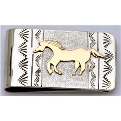 Navajo 12k Gold Fill over Sterling Silver Running Horse Money Clip - Roger Jones