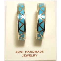 Zuni Turquoise Inlay Sterling Silver 3/4 Ring Post Earrings - Joann Peina