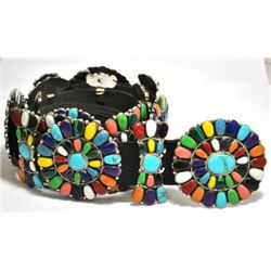 Navajo Multi-Stone Sterling Silver Concho Belt - Juliana Williams