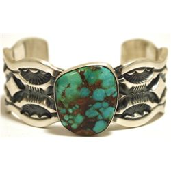Old Pawn Navajo Spider Web Turquoise Sterling Silver Cuff Bracelet - Marc Antia