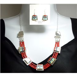 Zuni Coral Bead Multi-Stone Sun Face Sterling Silver Necklace & Earrings Set - Raylan & Patty Edaaki