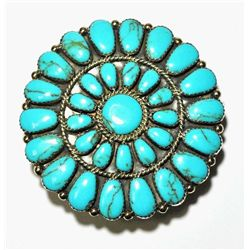 Navajo Turquoise Petit Point Cluster Sterling Silver Buckle - Juliana Williams