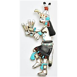 Navajo Multi-Stone Male Harvest Dancer Zuni Pendant & Pin - Andrea Shirley