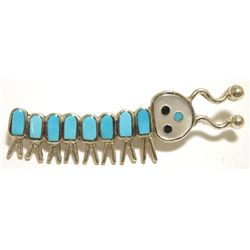 Zuni Multi-Stone Inlay Caterpillar Sterling Silver Pin - Emma Edaakie