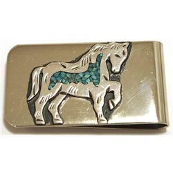 Navajo Turquoise Sterling Silver Horse Money Clip - Richard Singer