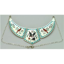 Zuni Multi-Stone Inlay Hummingbird & Cardinal Sterling Silver Necklace - Dennis & Nancy Edaakie