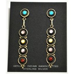 Navajo Multi-Stone Dangling Sterling Silver Post Earrings