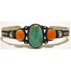 Navajo Green Turquoise & Spiny Oyster Sterling Silver Cuff Bracelet - Lindberg & Eva Billa
