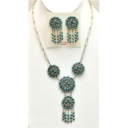Zuni Turquoise Petit Point Sterling Silver Necklace & Earrings Set - Wayne Johnson