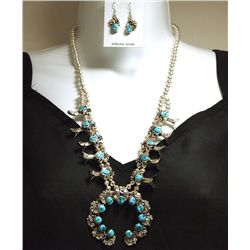 Old Pawn Navajo Sleeping Beauty Turquoise Sterling Silver Necklace & Earrings Set - B